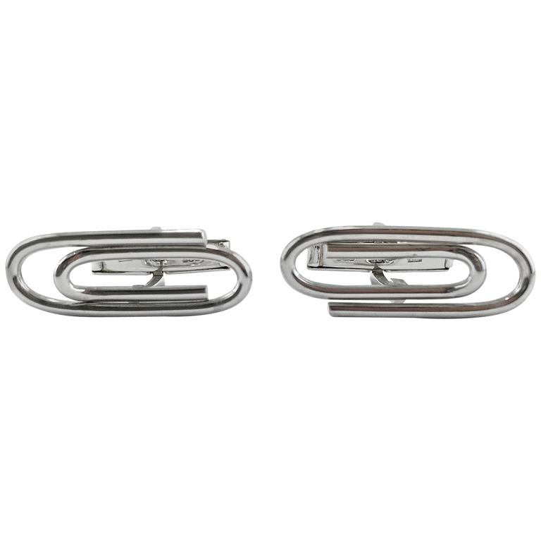 Jona Sterling Silver Paperclip Cufflinks For Sale