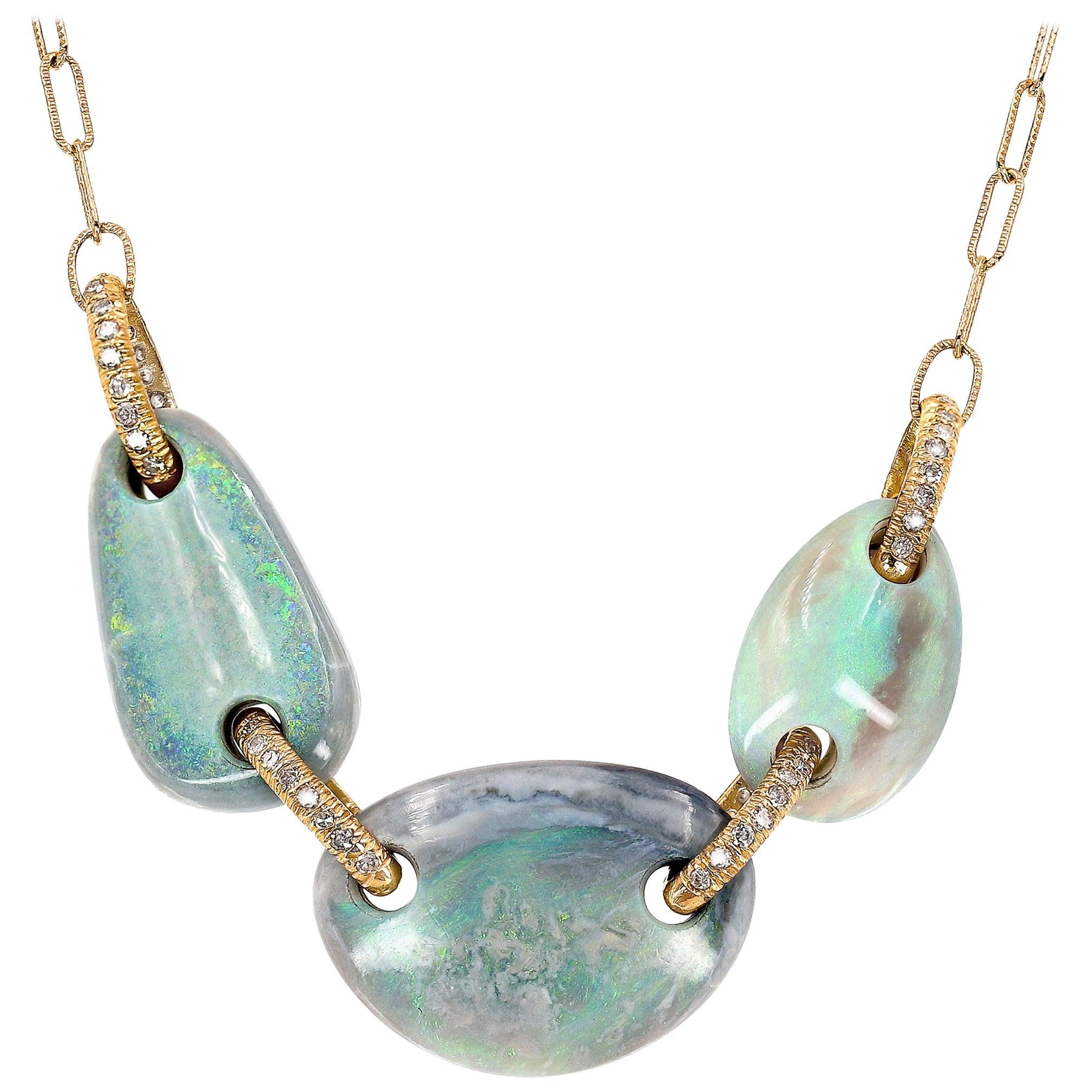 Julie Romanenko Floating Boulder Opal Diamond Link Gold Necklace