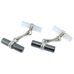 Jona Chalcedony Hematite Sterling Silver Cufflinks