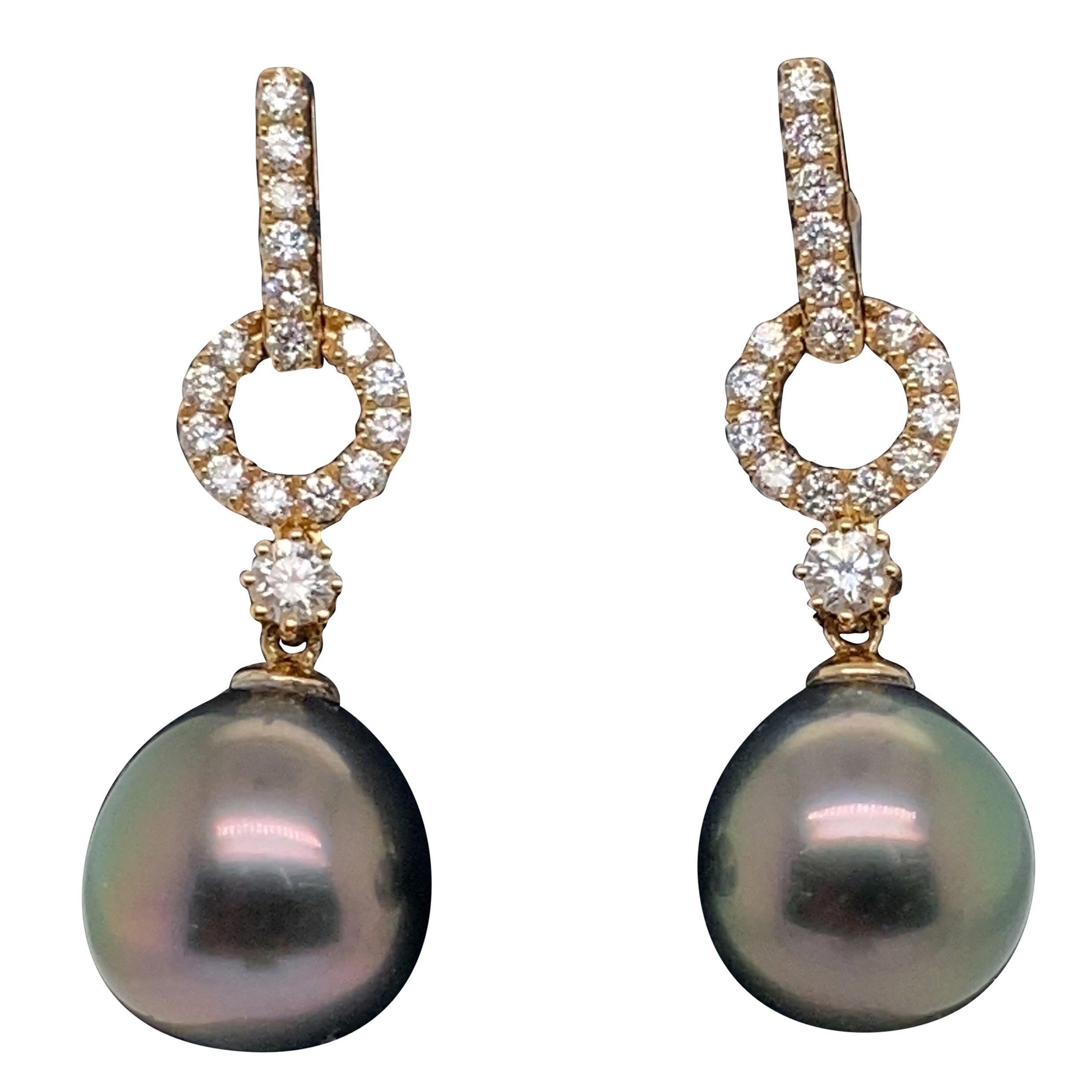 HARBOR D. Tahitian Pearl Diamond Drop Earrings 0.61 Carat