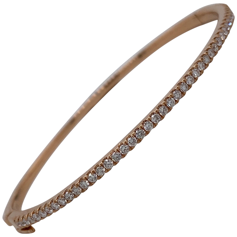 HARBOR D. Diamond Bangle Bracelet 0.85 Carat 18 Karat Rose Gold