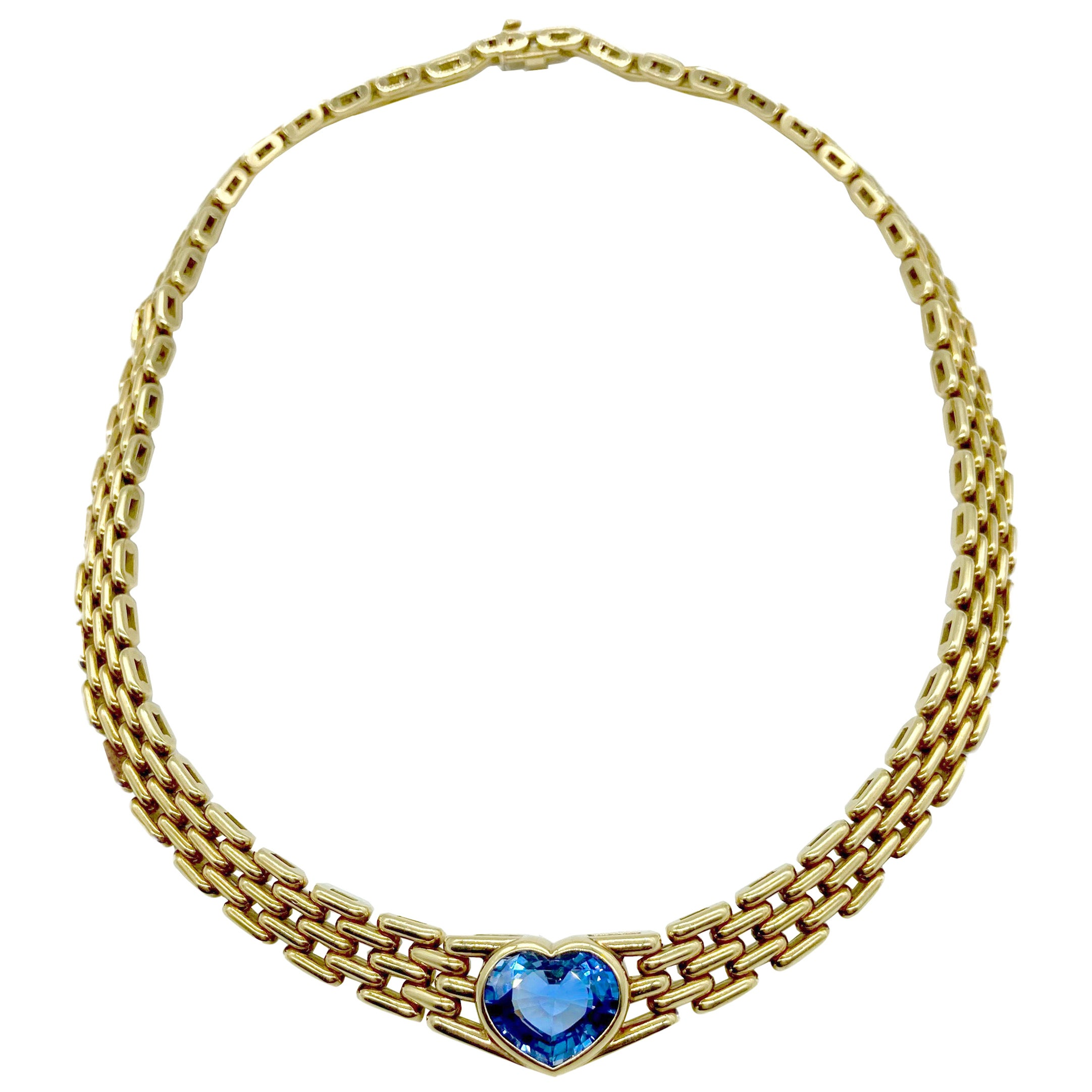 Bulgari Sapphire Heart Yellow Gold Necklace