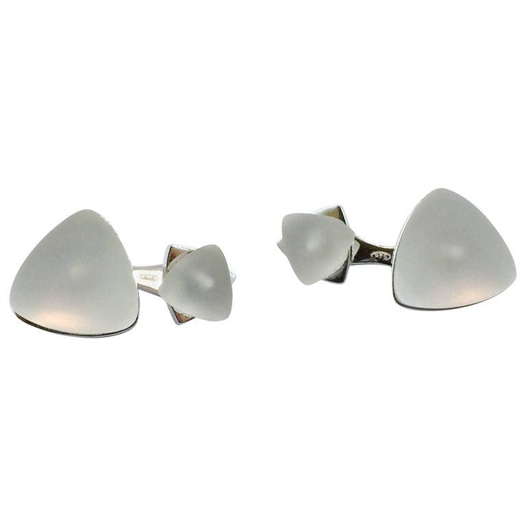 Jona Rock Crystal Geometric Sterling Silver Cufflinks For Sale