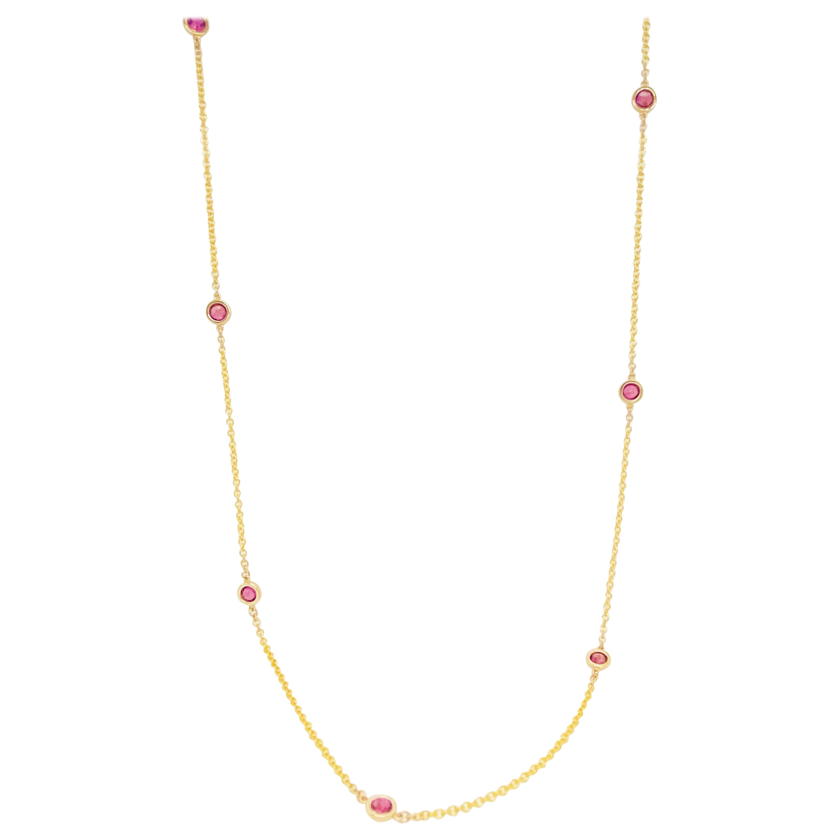 Ruby Bezel Necklace, 14 Karat Gold, Rubies by the Yard Necklace, Ruby Chain