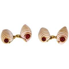 Trianon Carnelian Gold and Shell Cufflinks
