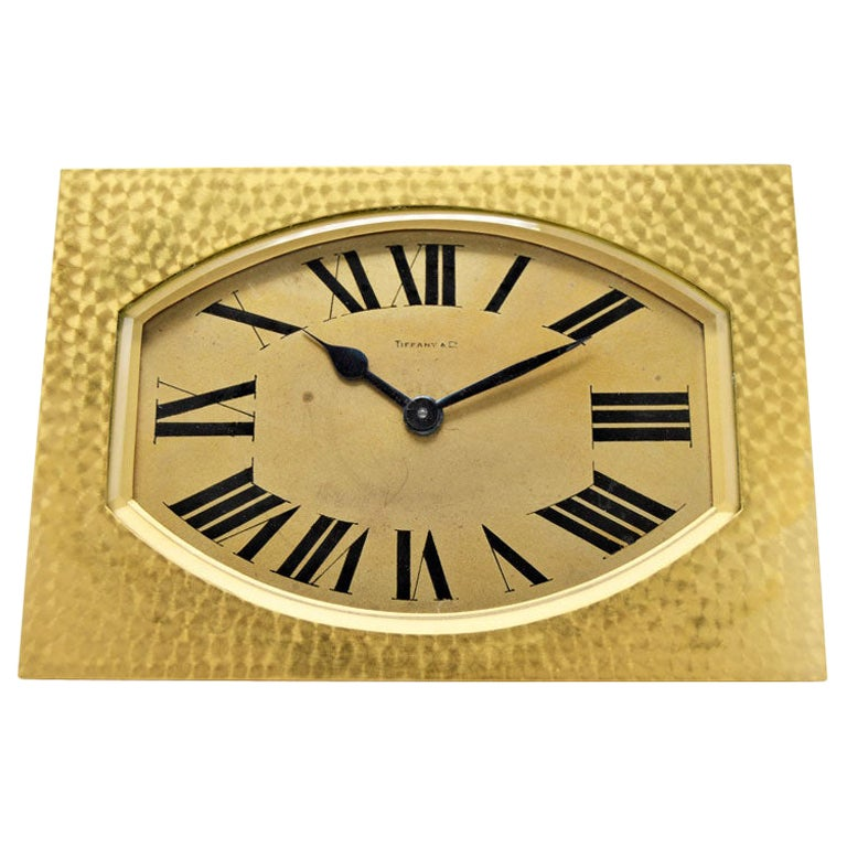 Tiffany & Co. Art Deco French Made Hammered Brass and Gilt Desk Clock, 1930s