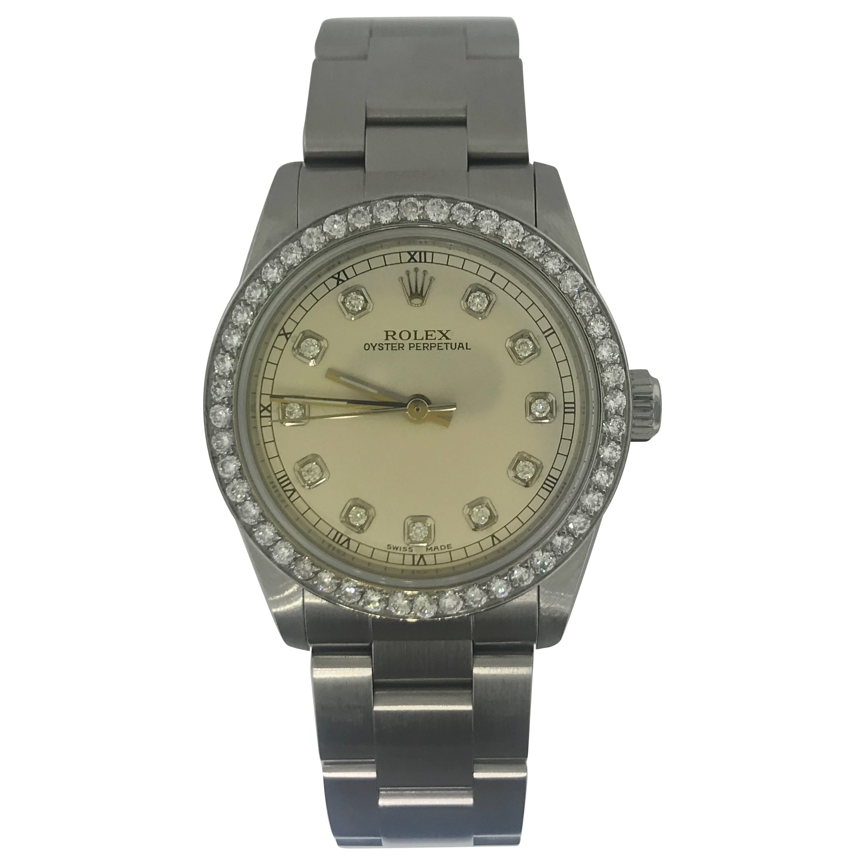 1 1/2 Carat Diamond Bezel-Rolex Oyster Perpetual Stainless Steel Ladies Watch