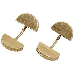 CARTIER PARIS Art Deco Yellow Gold Coin-Edge Fan Cufflinks