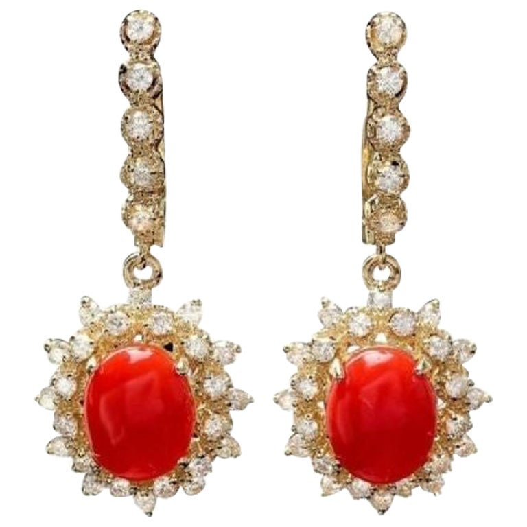 Exquisite 5.60 Carat Natural Coral and Diamond 14K Solid Yellow Gold Earrings