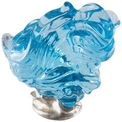 Naomi Sarna Large Rutilated Blue Topaz Carving