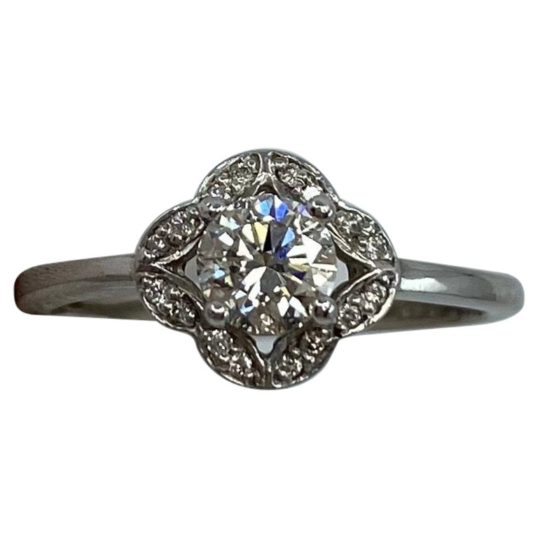 GIA Certified 0.40 Carat F VS2 Diamond 18 Karat White Gold Halo Ring