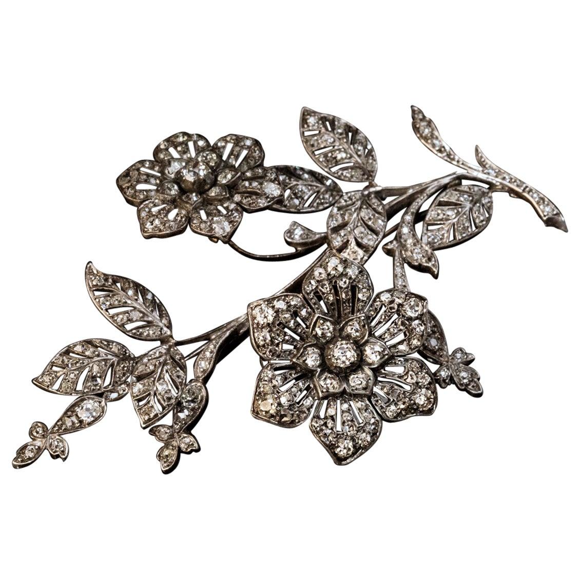 Very Large Antique 'En Tremblant' Diamond Brooch