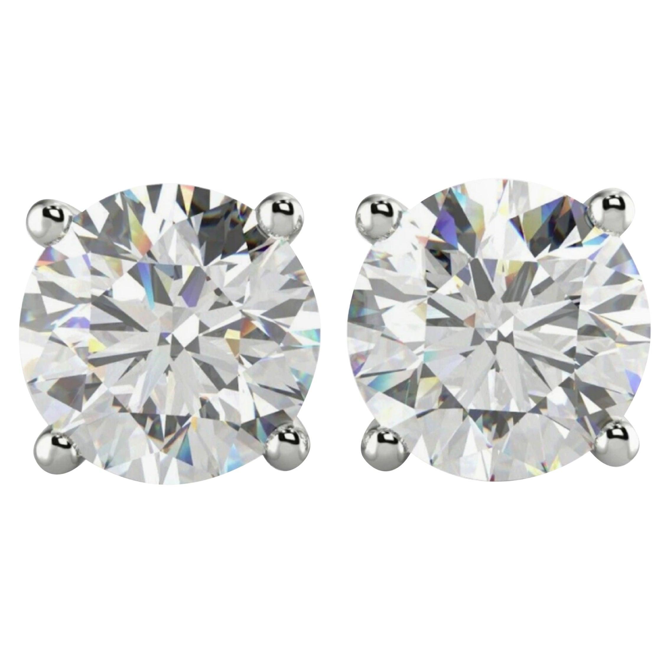 GIA Certified 3.01 Carat GIA Certified Diamond Studs E/F VVS1