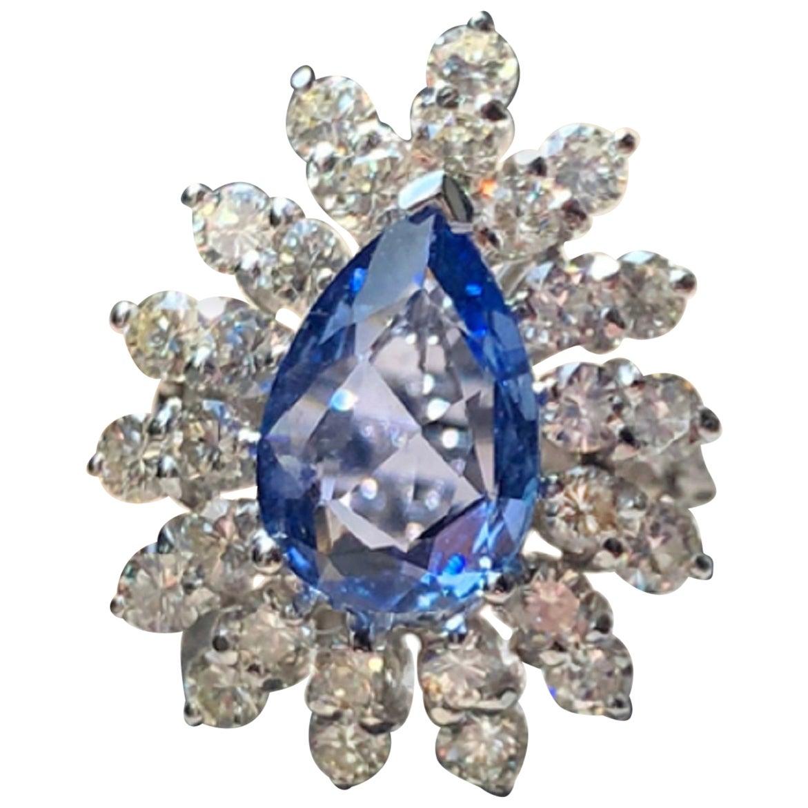 4.80 Carat Cornflower Sapphire and Diamond Cocktail Ring