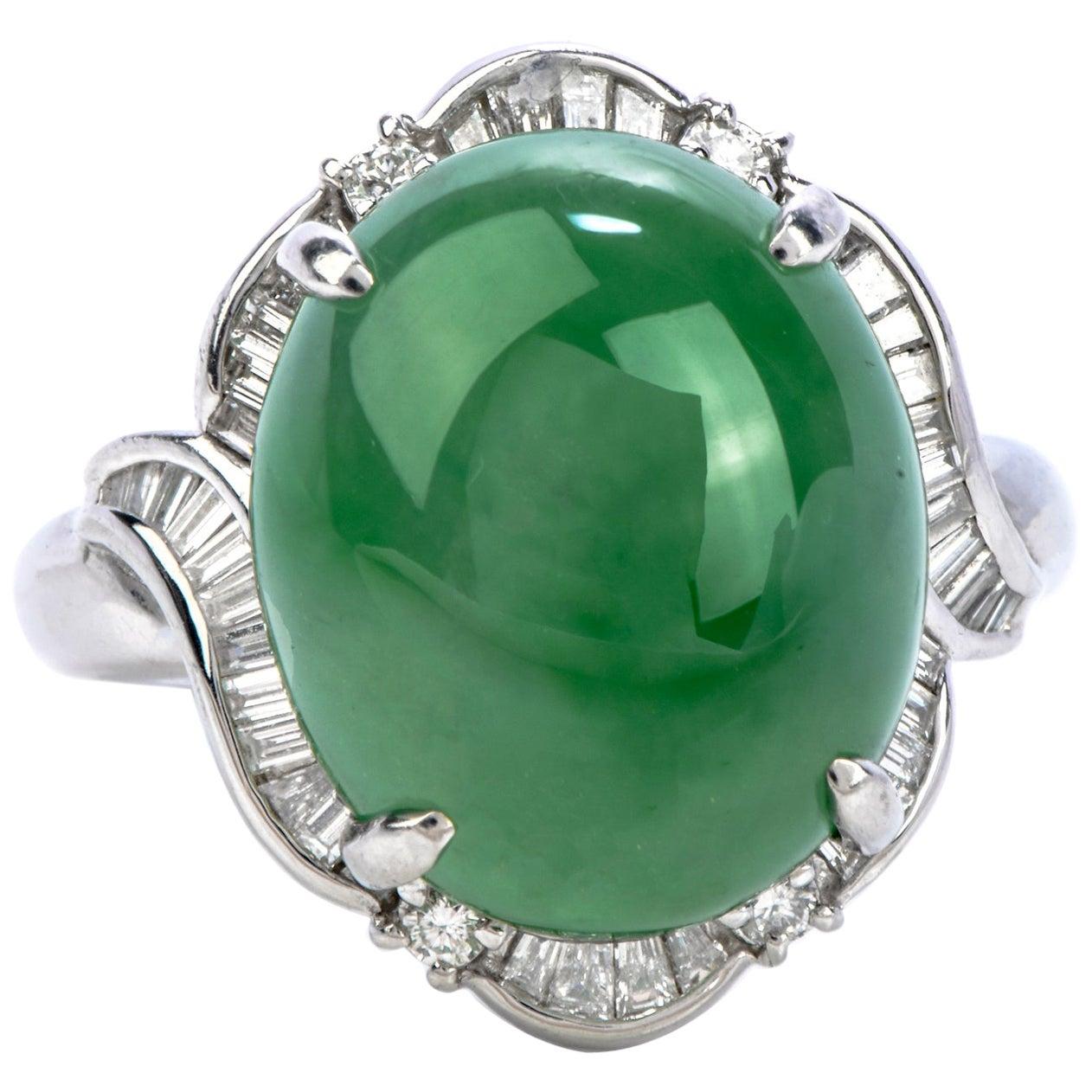 Certified GIA Green Jade Platinum Diamond Cocktail Ring