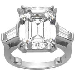 10.27 Carat Emerald Cut Diamond Platinum Ring
