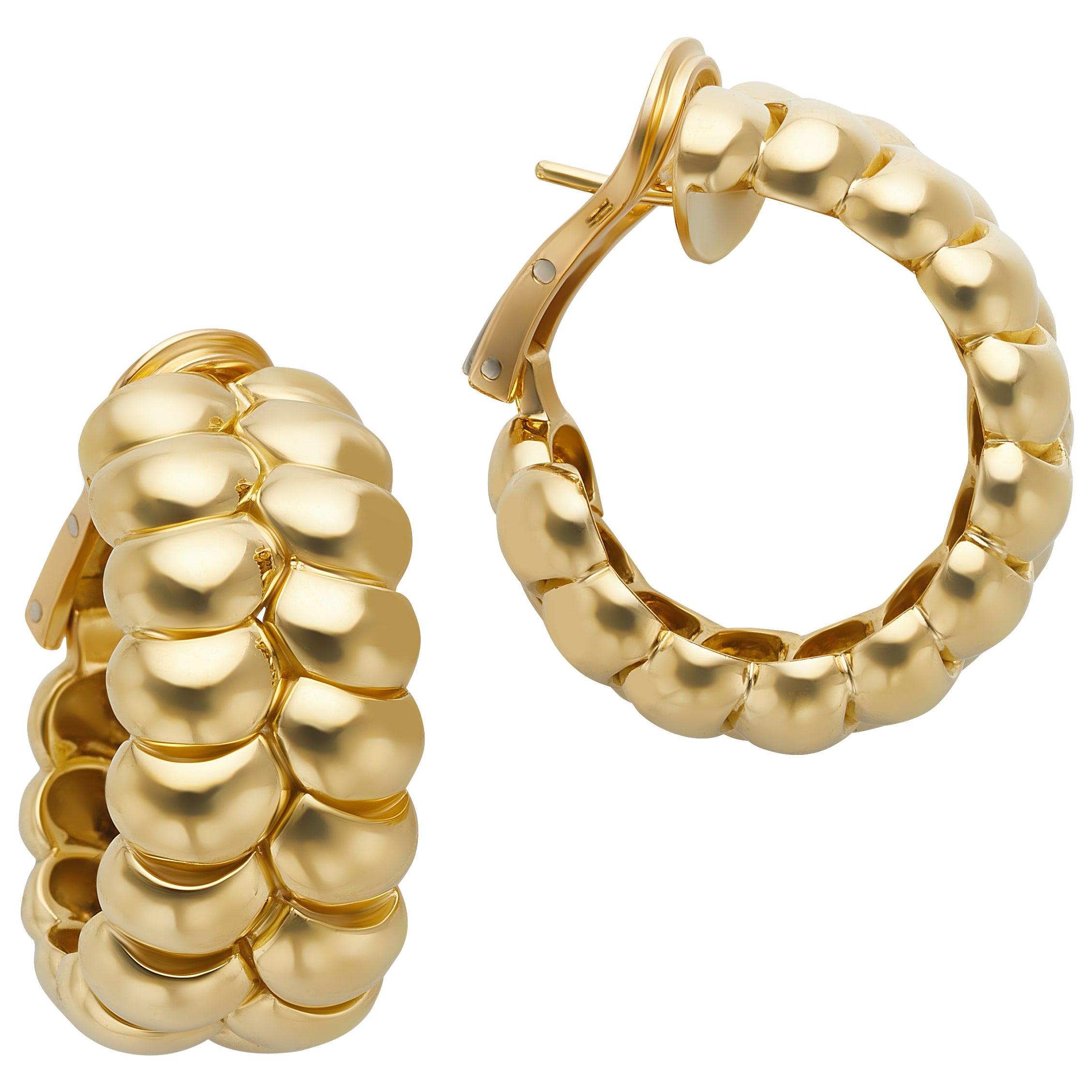 18 Karat Yellow Gold Double Braid Half Hoop Earrings