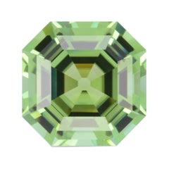 Mint Green Tourmaline Ring Gem 7.47 Carat Asscher Cut Loose Unset