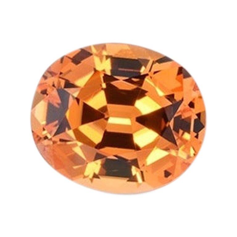 Mandarin Garnet Ring Gem 3.33 Carat Oval Loose Gemstone