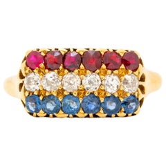 Antique French 18 Karat Yellow Gold, Ruby and Sapphire Row Ring, circa 1880