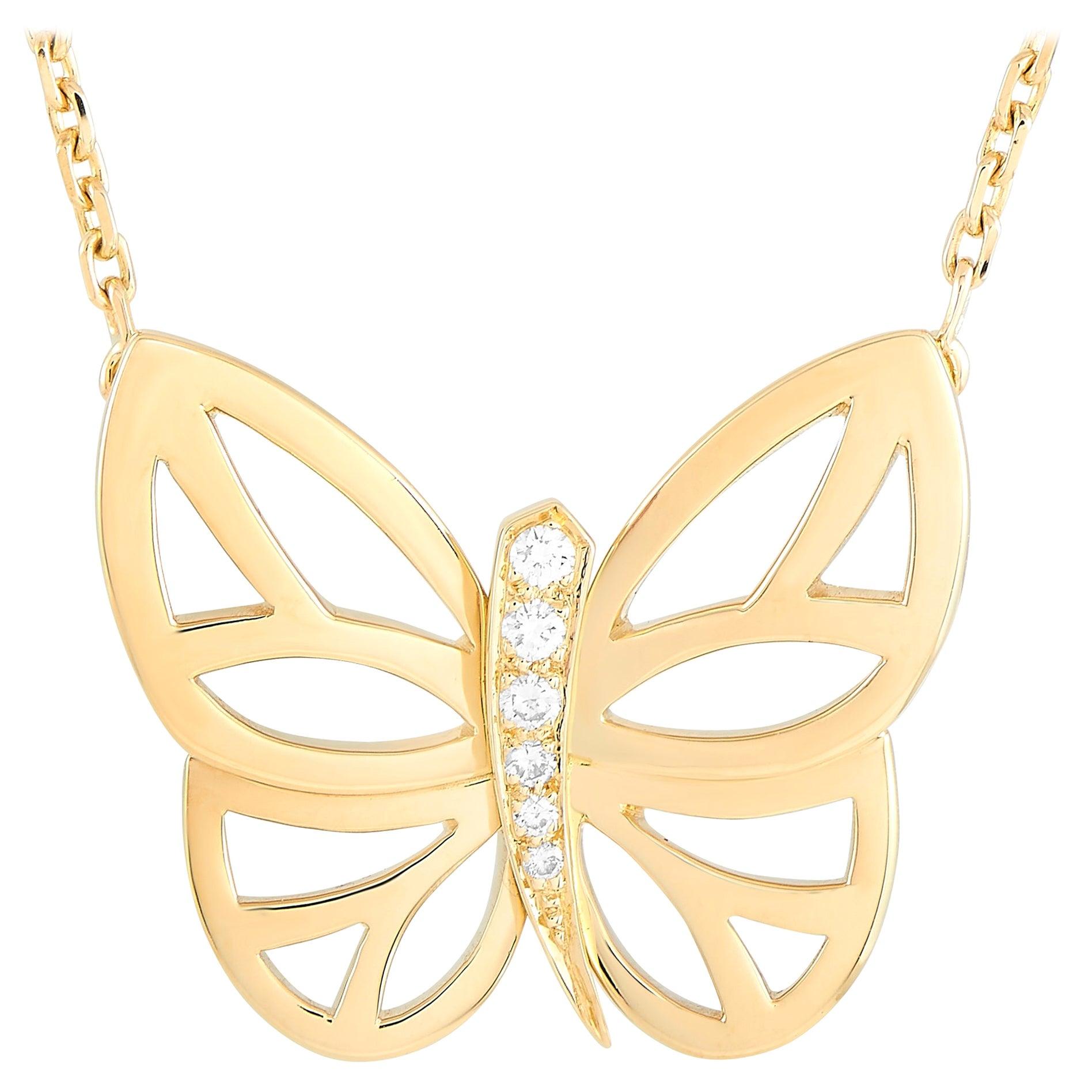 Van Cleef & Arpels 18 Karat Yellow Gold Diamond Butterfly Pendant Necklace