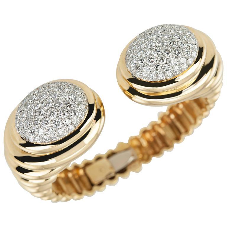 Wander Gold Diamond Cuff Bracelet, Circa 1970s