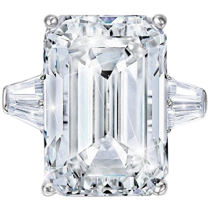 GIA Certified 4 Carat Emerald Cut Diamond F Color VVS1 Clarity