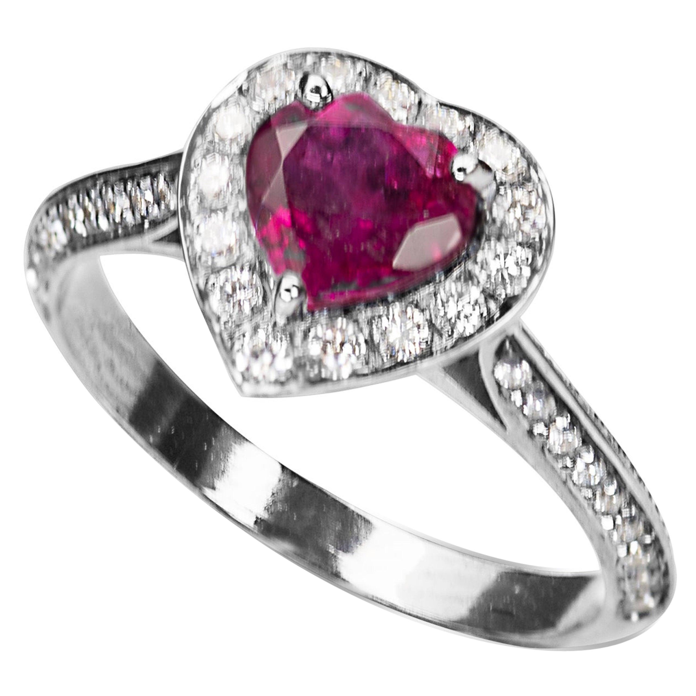 18Karat White Gold 0.50Karat White Diamonds Ruby Heart Engagement Ring