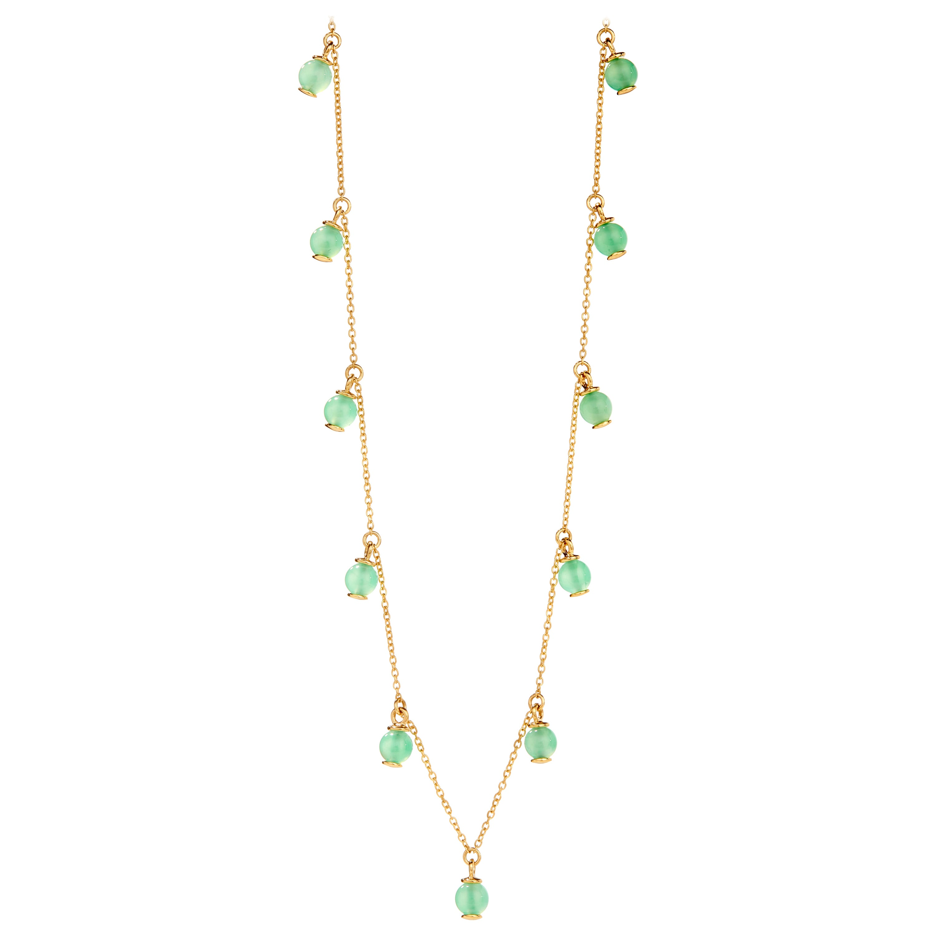 Syna Chrysoprase Yellow Gold Bead Necklace