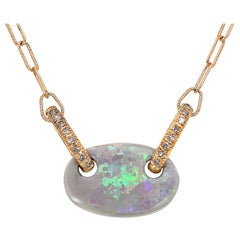 Julie Romanenko Floating Boulder Opal Diamond Link Gold Necklace
