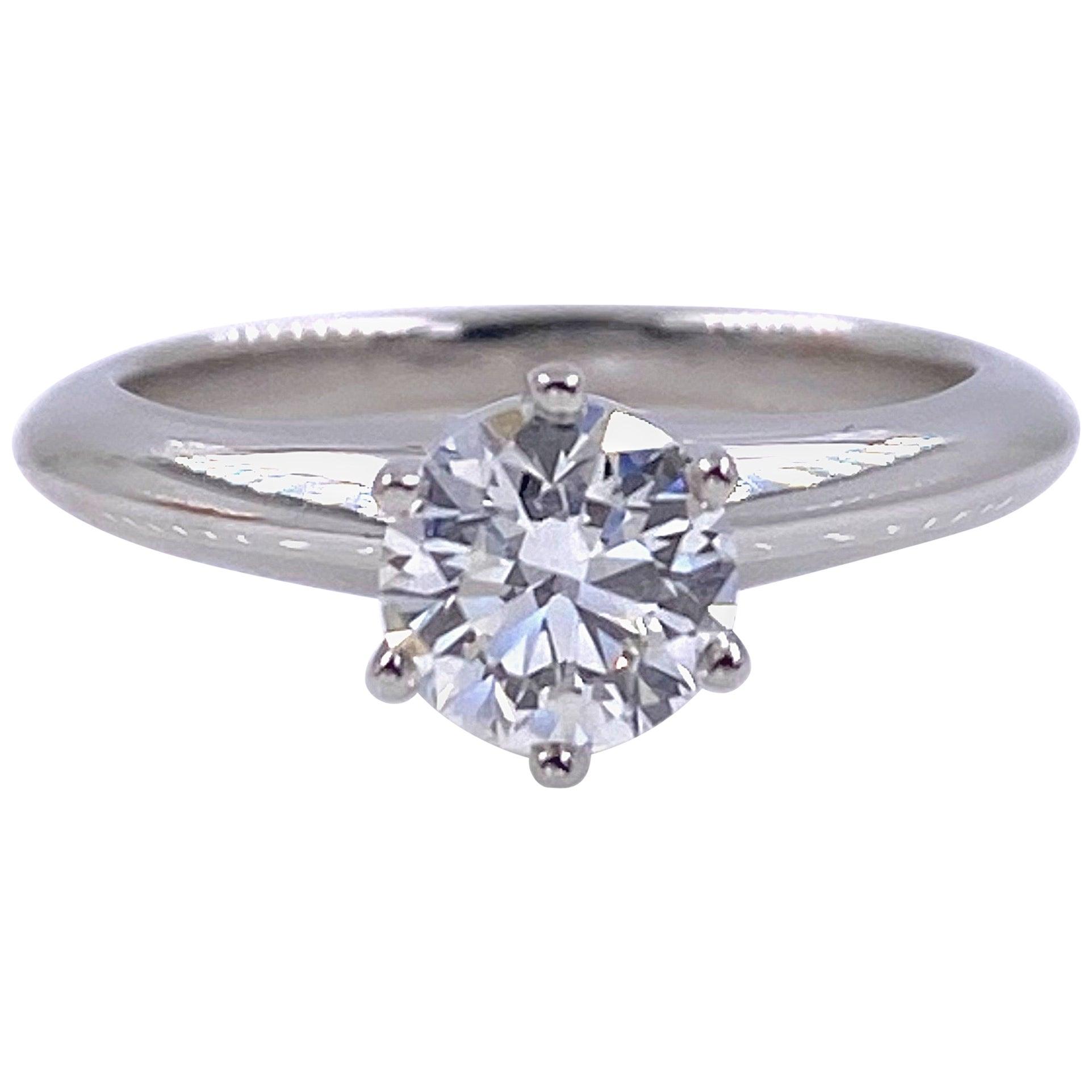 Tiffany & Co. Round Brilliant Diamond 0.74 Carat I VS1 Engagement Ring Platinum