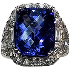 Cushion Cut Tanzanite and Diamond 3-Stone Ring