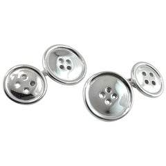 Jona Silver Button Cufflinks