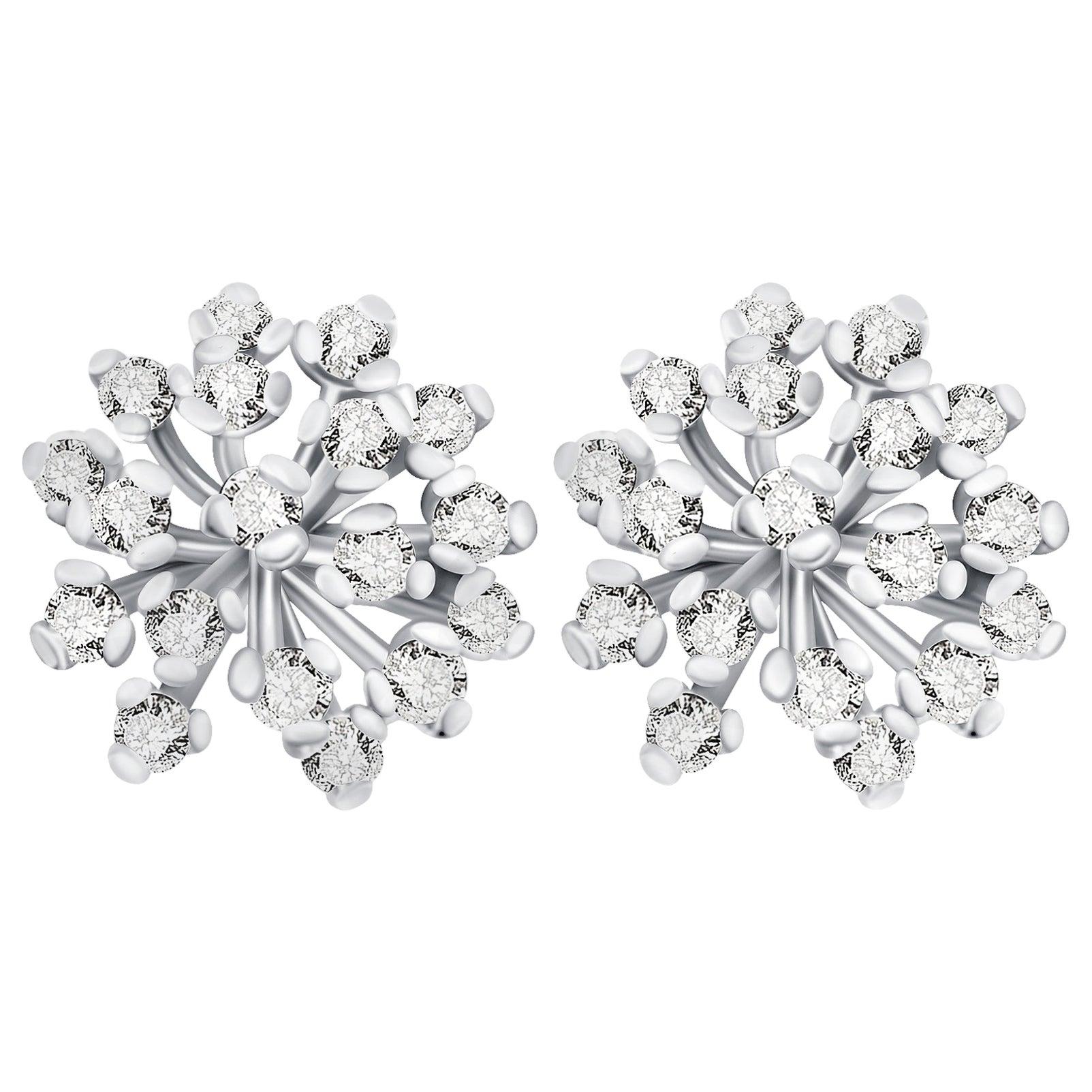 """Snowflake"" 14 Karat White Gold Diamond Stud Earrings"