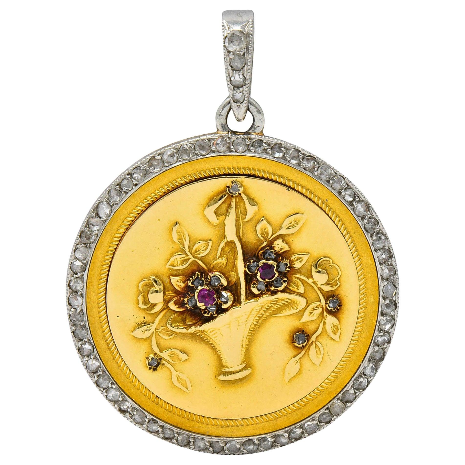 Edwardian French Diamond Platinum 18 Karat Gold Giardinetto Locket Necklace