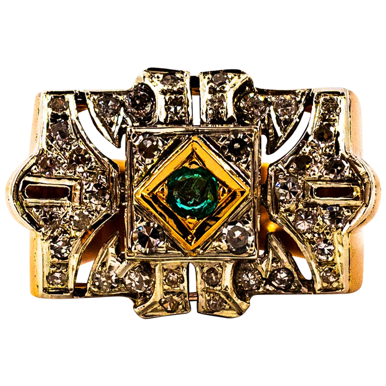 Art Deco Style 0.60 Carat White Diamond Emerald Yellow Gold Cocktail Ring