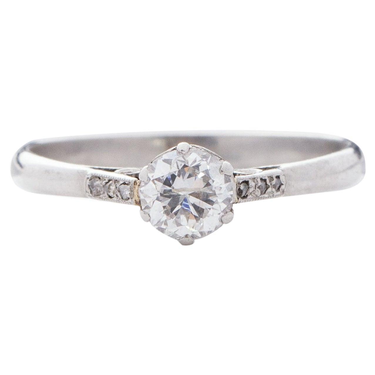 Edwardian 1/2 Carat Old European Cut Solitaire Platinum Engagement Ring
