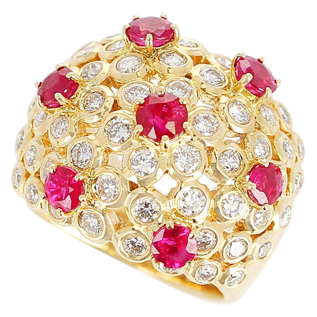 Ruby and Diamond Cocktail Cluster Ring, 18 Karat Yellow Gold