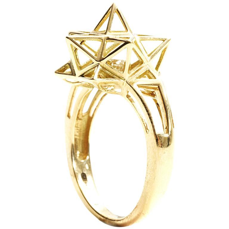 Framed Mini Diamond Gold Ring