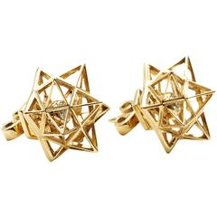 Framework Diamond Gold Stud Earrings