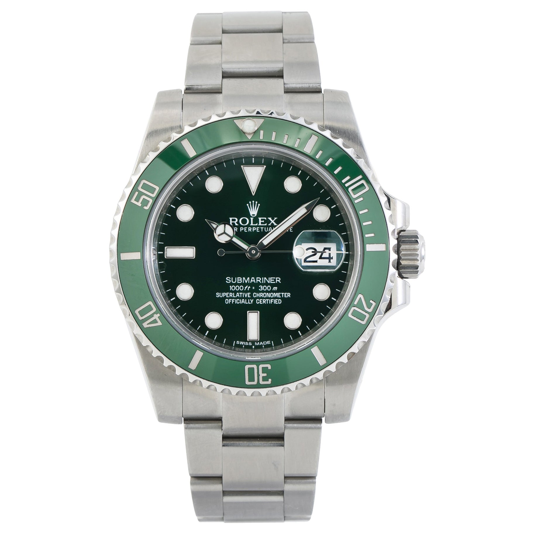 Rolex Submariner Date Green Dial 116610LV SS Auto Men's Watch with Papers