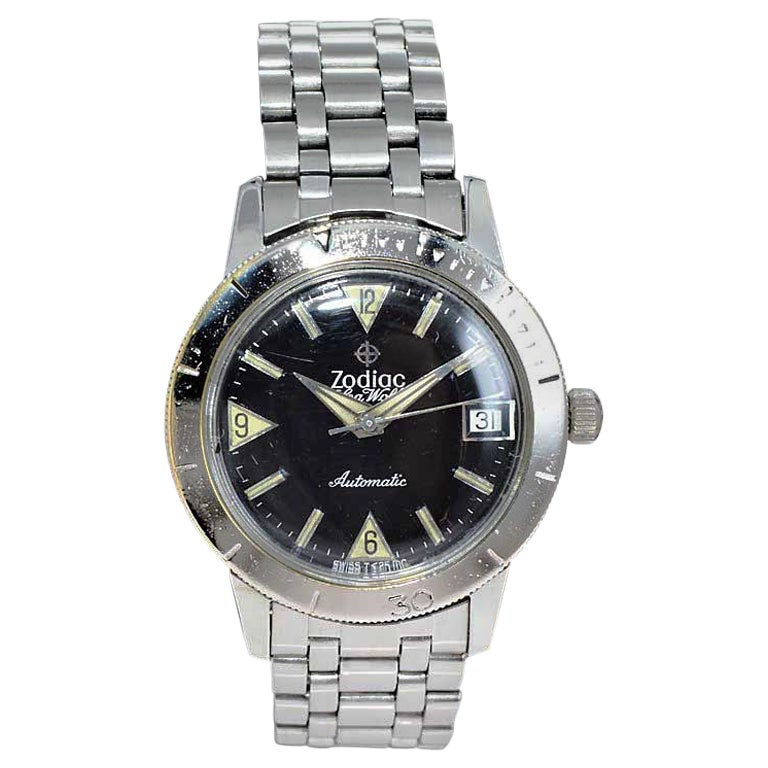 Zodiac Sea Wolf Stainless Steel Automatic Diver Wrist Watch, circa 1960s