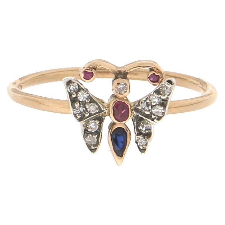 Handcraft Butterfly 14 Karat Yellow Gold Diamonds Ruby Sapphire Cocktail Ring