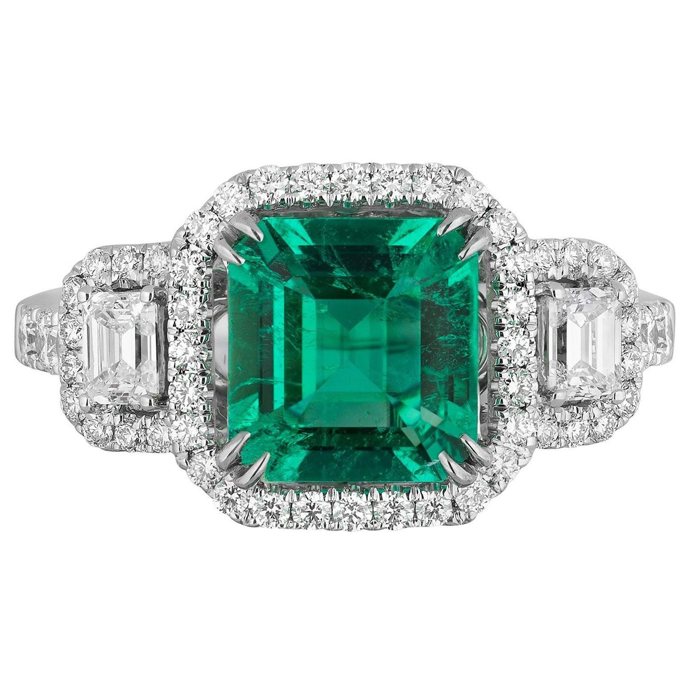 1.75 Carat Colombian Emerald Diamond Cocktail Ring