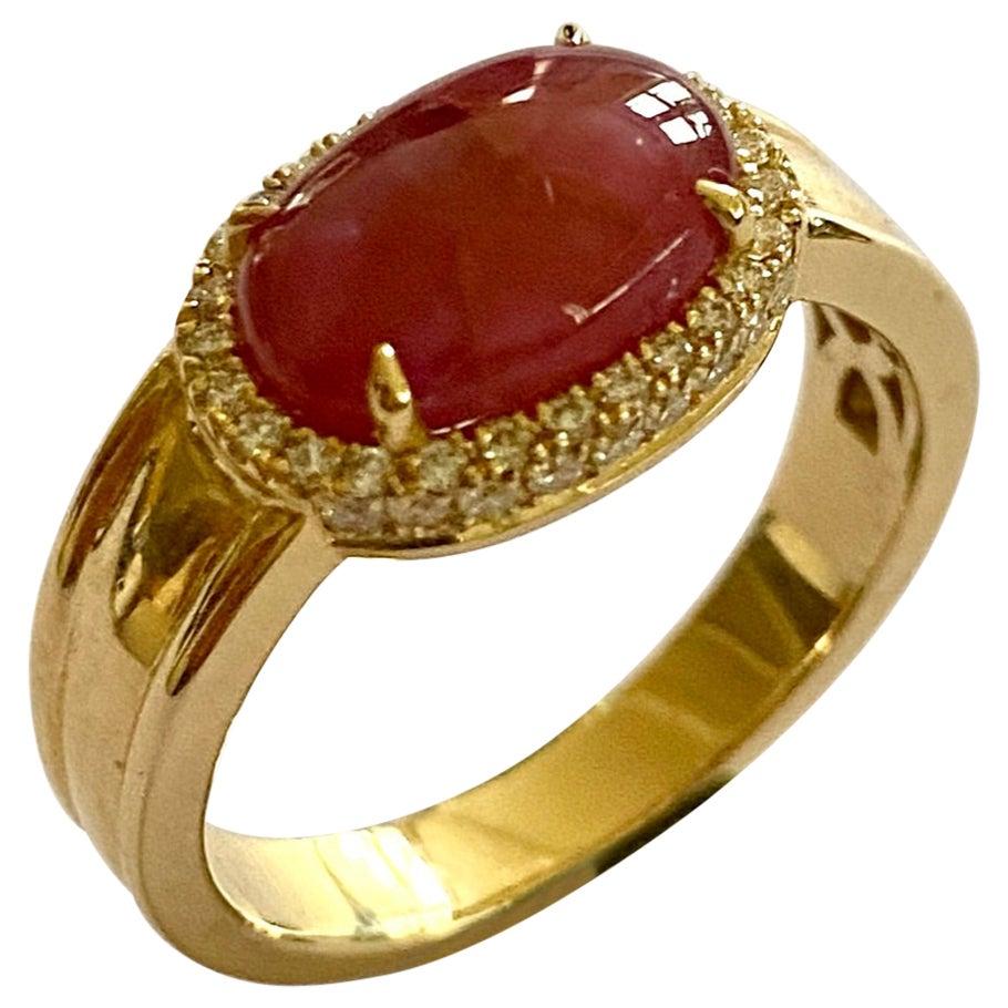 18 Karat Yellow Gold Ring, Diamonds and One '1' Star Ruby, Handmade