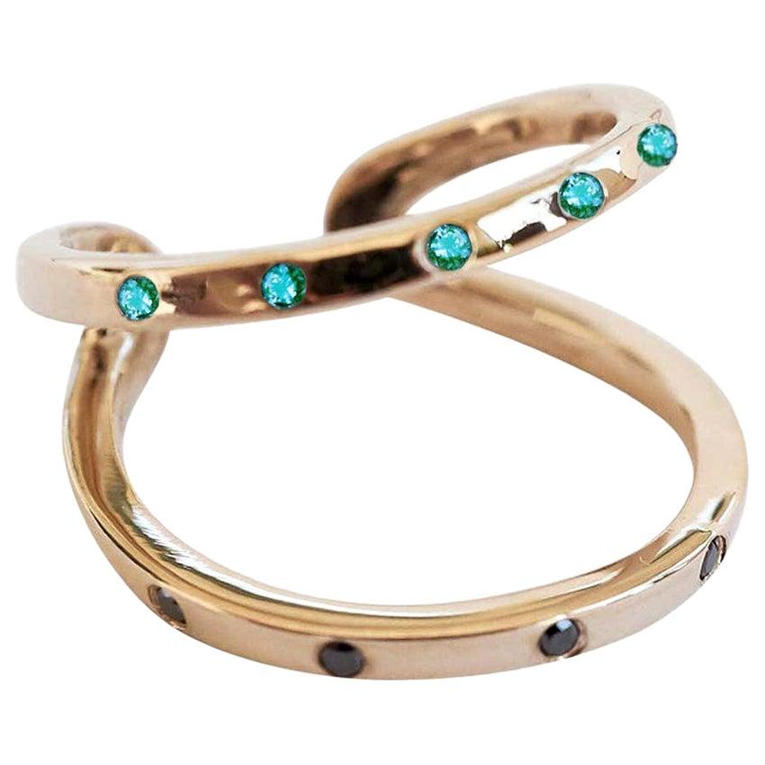 Emerald Black Diamond Ring Cocktail Ring Onesie Bronze J Dauphin