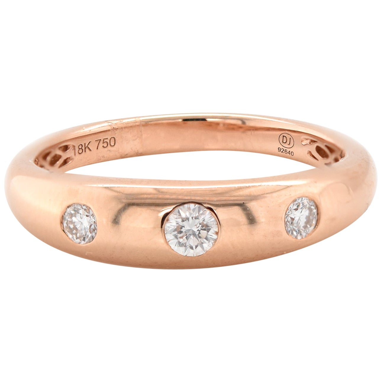 18 Karat Rose Gold Bezel Set Diamond Band