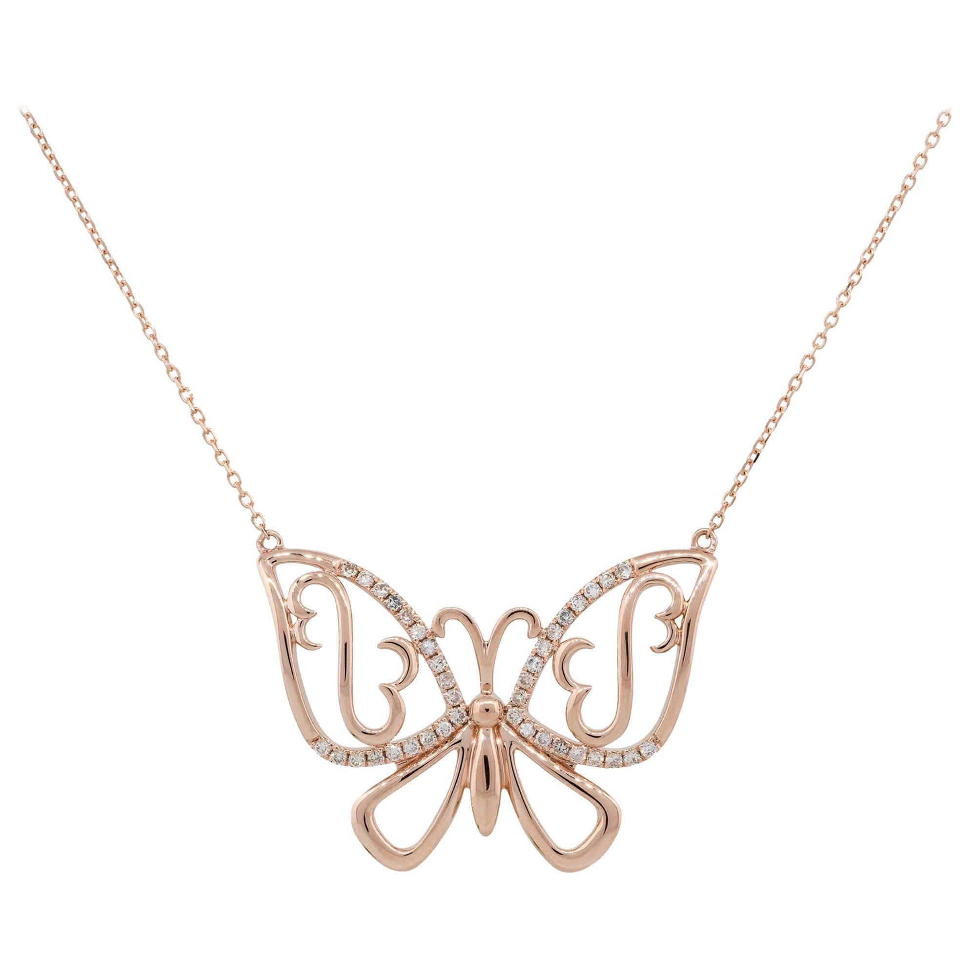 0.25 Carat Diamond Butterfly Pendant Necklace 14 Karat in Stock