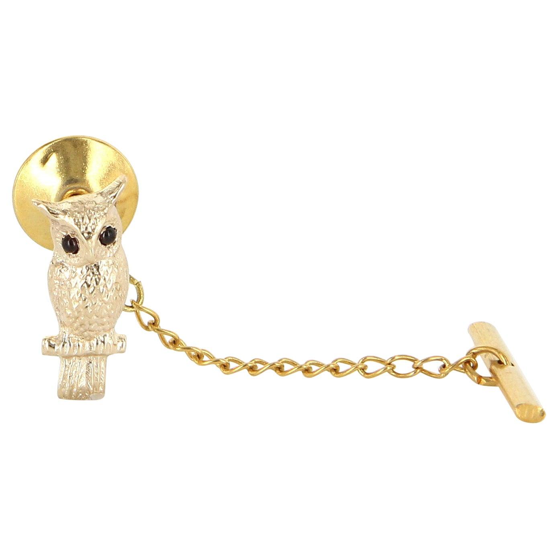 Owl on Branch Tie Tac Pin Vintage 14 Karat Gold Men's Fine Estate Bird Jewelry
