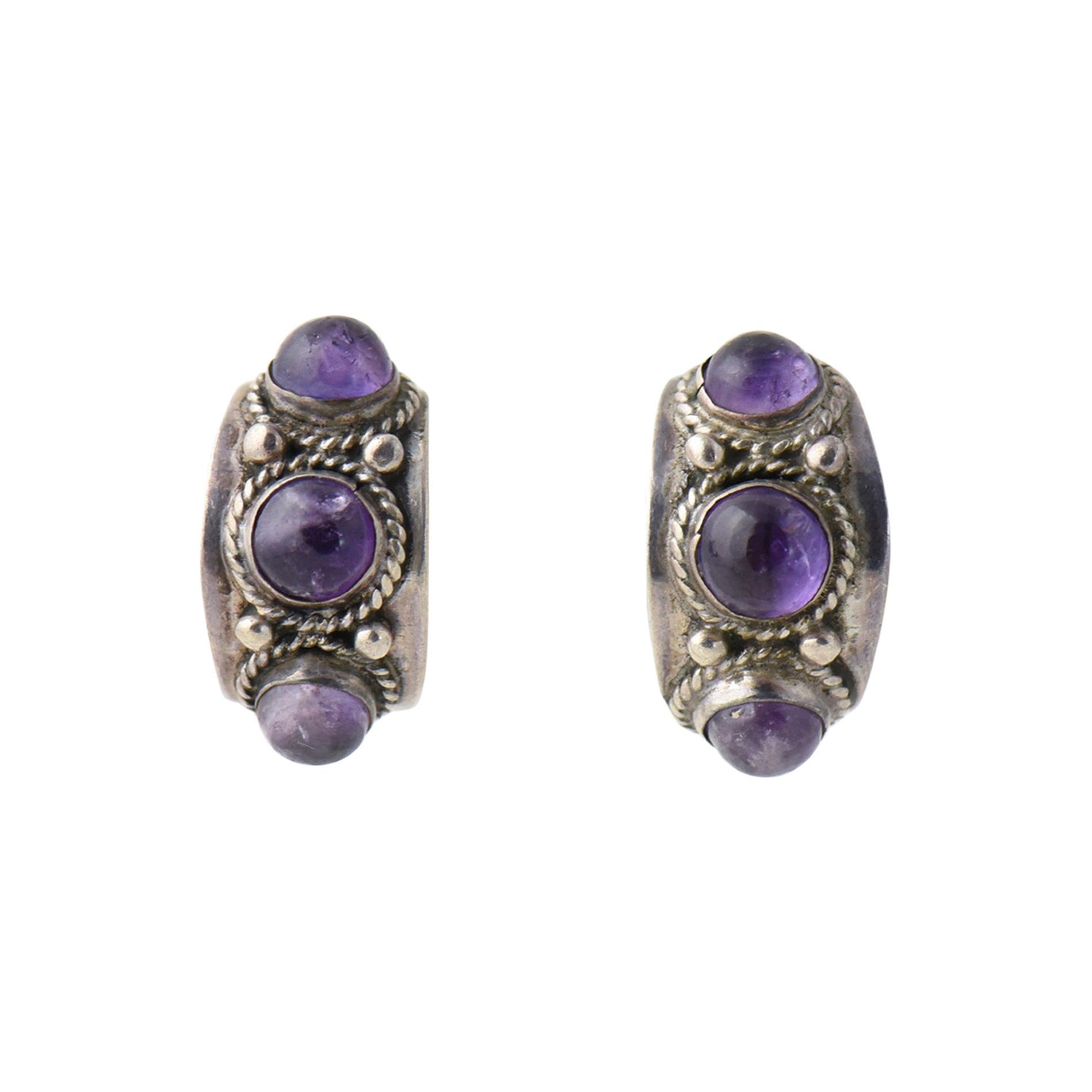 Modernist Amethyst Sterling Silver Hoop Earrings